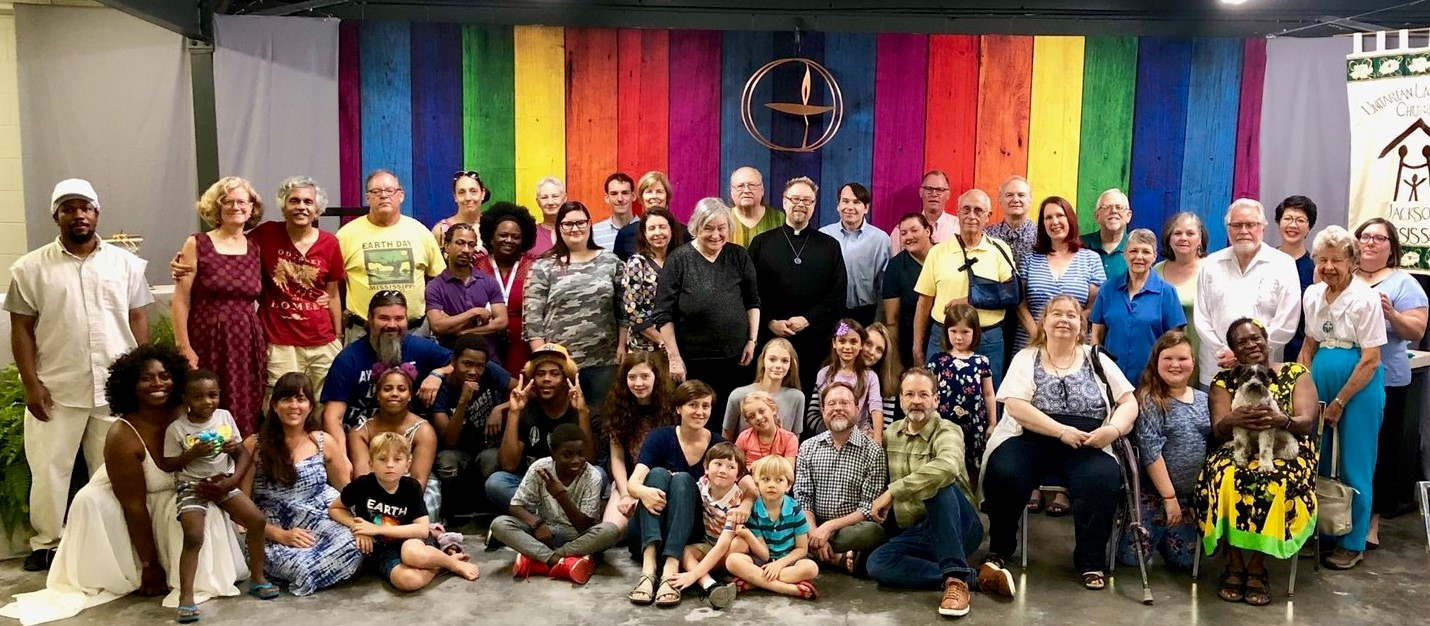 Group photo of UUCJ members and friends on Transition Sunday 9/8/2019