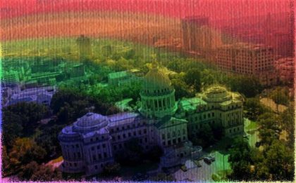image of Jackson downtown with a rainbow overlay