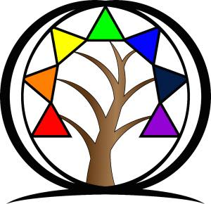 tree with seven branches each with a different color triangle in place of leaves