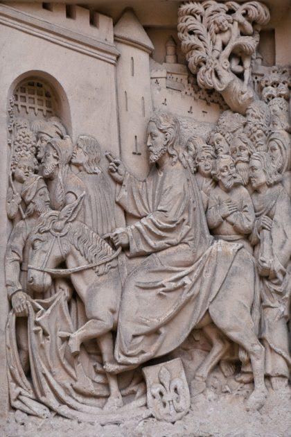 Jesus and donkey entering Jerusalem, palm Sunday