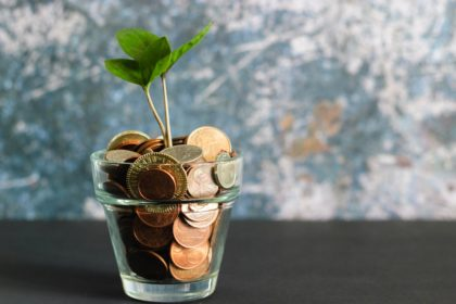 coins in a planter with a plant growing out of it